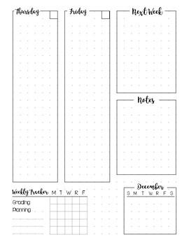 Bullet Journal Planner Weekly Spread - DECEMBER
