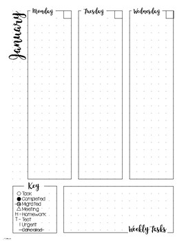 Bullet Journal Planner Weekly Spread - JANUARY