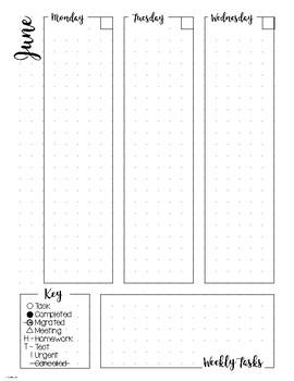 Bullet Journal Planner Weekly Spread - JUNE