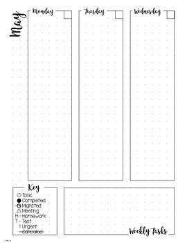 Bullet Journal Planner Weekly Spread - MAY