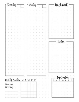 Bullet Journal Planner Weekly Spread - SEPTEMBER