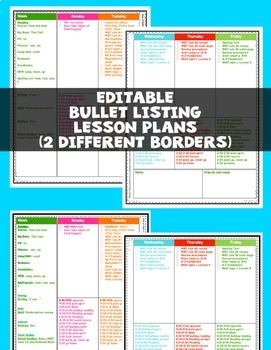 Editable Teacher Binder Bullet Lesson Plan Lists and Calendars BRIGHTS 2017-2018