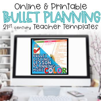 Editable Teacher Binder Bullet Lesson Planning Template BRIGHTS 2017-2018