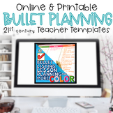 Editable Teacher Binder 2021-2022 Bullet Lesson Planning Color Brights Bundle