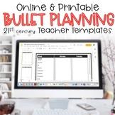 Editable Teacher Binder 2017-2018 Bullet Lesson Planning T