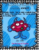 Bulletin Board... A Book a Day Keeps the Monsters Away...Printable Words