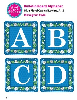 Bulletin Board Alphabet, Blue Floral Capitals