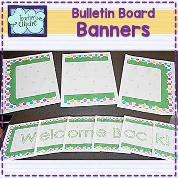 Bulletin Board Banners / Clasroom display titles {EDITABLE} Polka dots