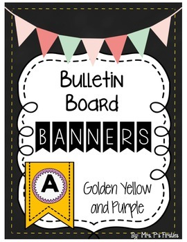 Bulletin Board Banners - Golden Yellow and Purple