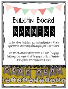 Bulletin Board Banners - Gray and Red