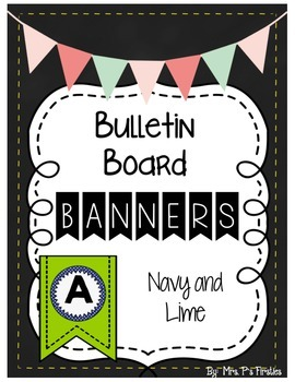 Bulletin Board Banners - Lime and Navy