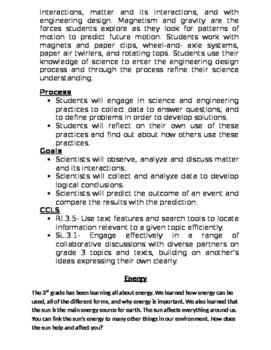 Bulletin Board Blurbs- 3rd Grade FOSS Science- CCLS Aligned