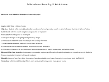 Bulletin Board Bombing Art Activism Complete Lesson & Powerpoint