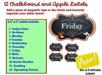 Bulletin Board Border Plus White Board Labels:  Apples, Burlap, & Chalkboards
