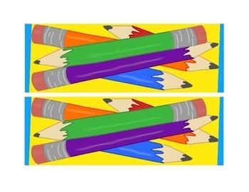 Bulletin Board Borders Back to School Apples Buses Pencils Erasers