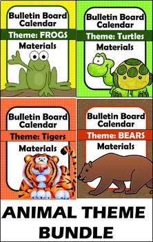 Bulletin Board - Calendar Materials BUNDLE - Animals (Tiger, Turtle, Frog, Bear)