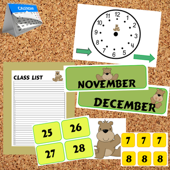 Bulletin Board - Calendar Materials (Theme - BEARS)