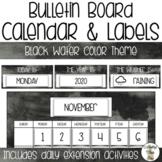 Bulletin Board Calendar Set - Black Water color Theme