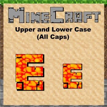 "Bulletin Board Clip Art Letters - 4"" tall Lava Minecraft theme"