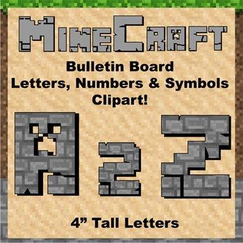 "Bulletin Board Clip Art Letters - 4"" tall Stone Minecraft theme"