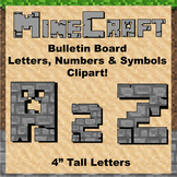 "Bulletin Board Clip Art Letters - 4"" tall Stone Minecraft theme"