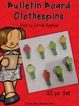 Bulletin Board Clothespins: Apple Clipables