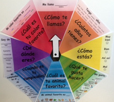 Bulletin Board! Colorful Question Wheel with Basic Spanish
