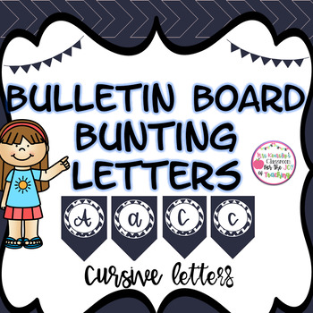 Bulletin Board Cursive Letters- Navy Chevron Bunting Banner