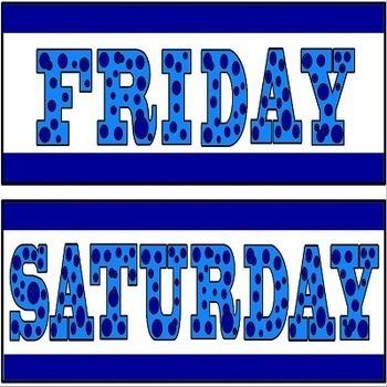 Days of the Week Calendar Headers in Blue Polka Dot Theme for Math