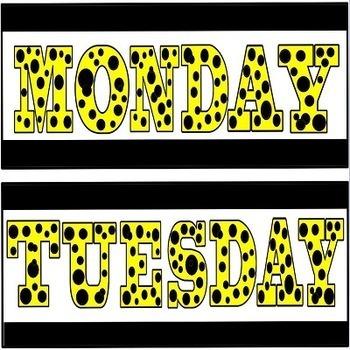 Days of the Week Headers Yellow and Black