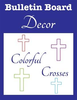 Bulletin Board Decor: Colorful Crosses