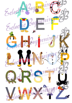 letter art alphabet bulletin board decor disney letters alphabet by 15535 | original 3119591 1