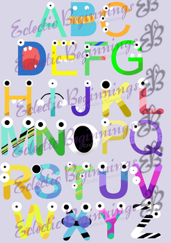 Bulletin Board Decor-Monsters Letters Alphabet