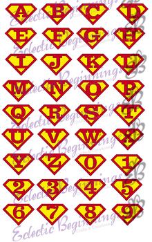 Bulletin Board Decor-Superman Logo Alphabet Letters Numbers