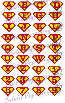 Bulletin Board Decor-Superman Logo Alphabet Letters Numbers