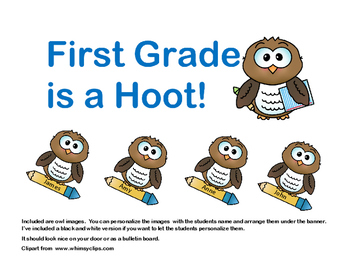 "Bulletin Board ""First Grade is a Hoot!"" Back to School"
