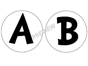 """Bulletin Board Header Display Circle Letters 5"""" Alphabet Numbers"""