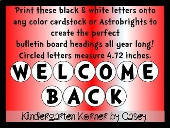 "Bulletin Board Header Display Circle Letters 5"" Alphabet Numbers"