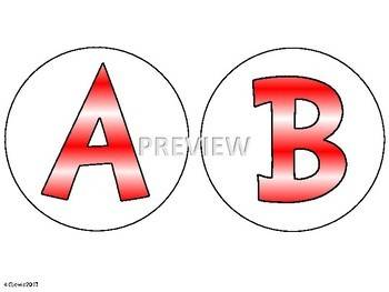 Bulletin Board Header Letters Red White Circles 4.7 inches