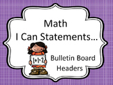 Bulletin Board Headers for Math