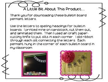 Bulletin Board Letter Pennants