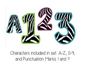Bulletin Board Letters: Bright Border Zebra Print (Classroom Decor)