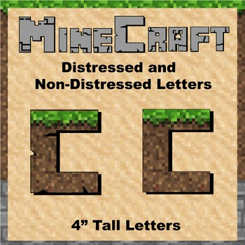 "Bulletin Board Clip Art Letters - 4"" tall Soil Minecraft theme"