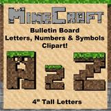 "Bulletin Board Clip Art Letters - 4"" tall Soil Minecraft theme"