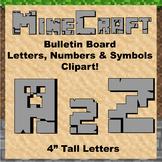 "Bulletin Board Clip Art Letters - 4"" tall Solid Grey Minecraft theme"