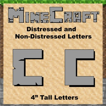 "Bulletin Board Clip Art Letters - 4"" tall Solid Grey Minecraft theme"