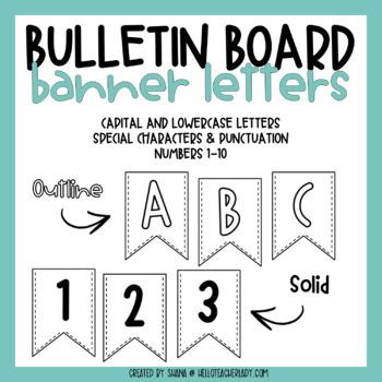bulletin board letters alphabet pennant banners set 1 tpt