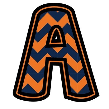 Bulletin Board Letters: Auburn - Orange & Navy Blue Chevron (Classroom Decor)
