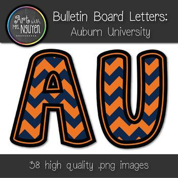 Bulletin Board Letters: Auburn - Orange & Navy Blue Chevro