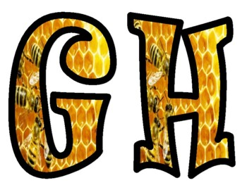 Bulletin Board Letters:  Bees on Honeycomb